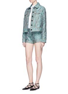 Jourden'Emerald China' stud paisley brocade shorts