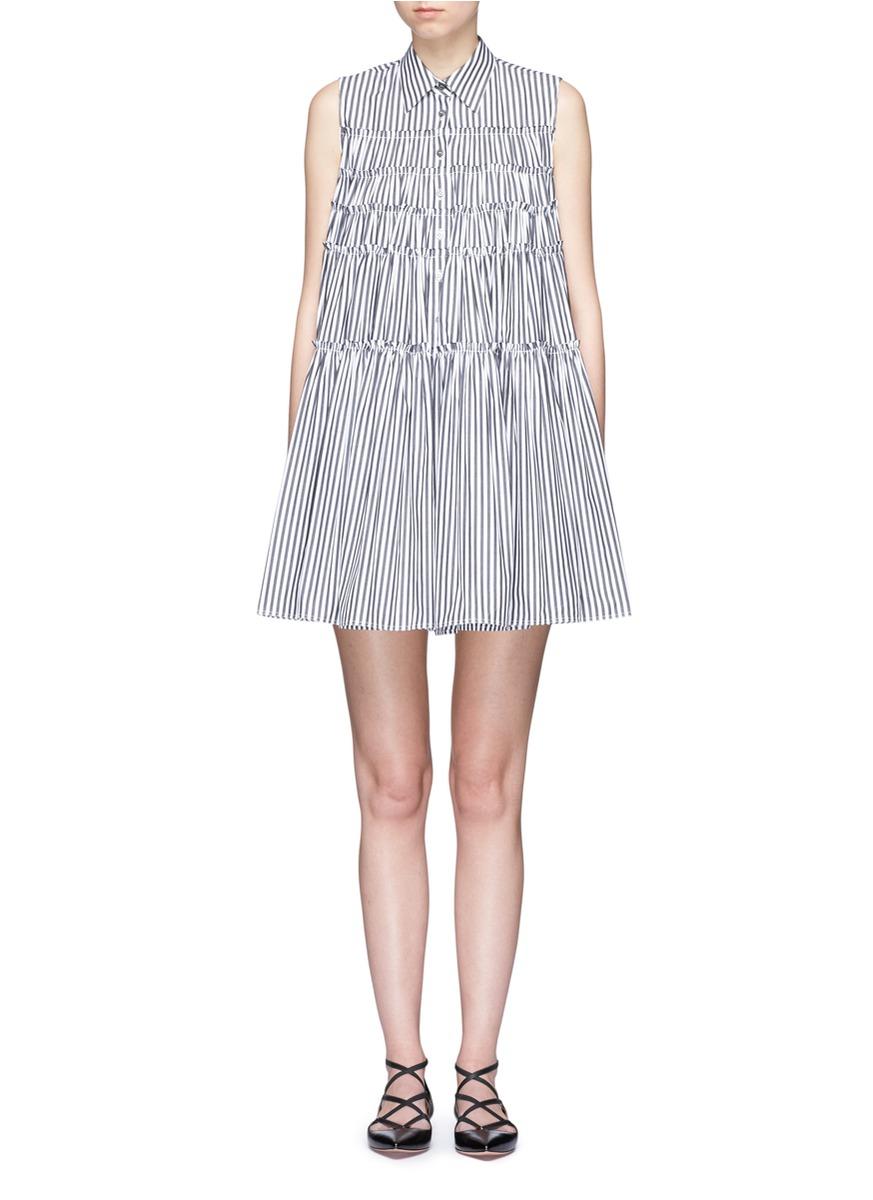 Stripe tiered cotton poplin shirt dress by Jourden