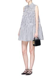 JourdenStripe tiered cotton poplin shirt dress