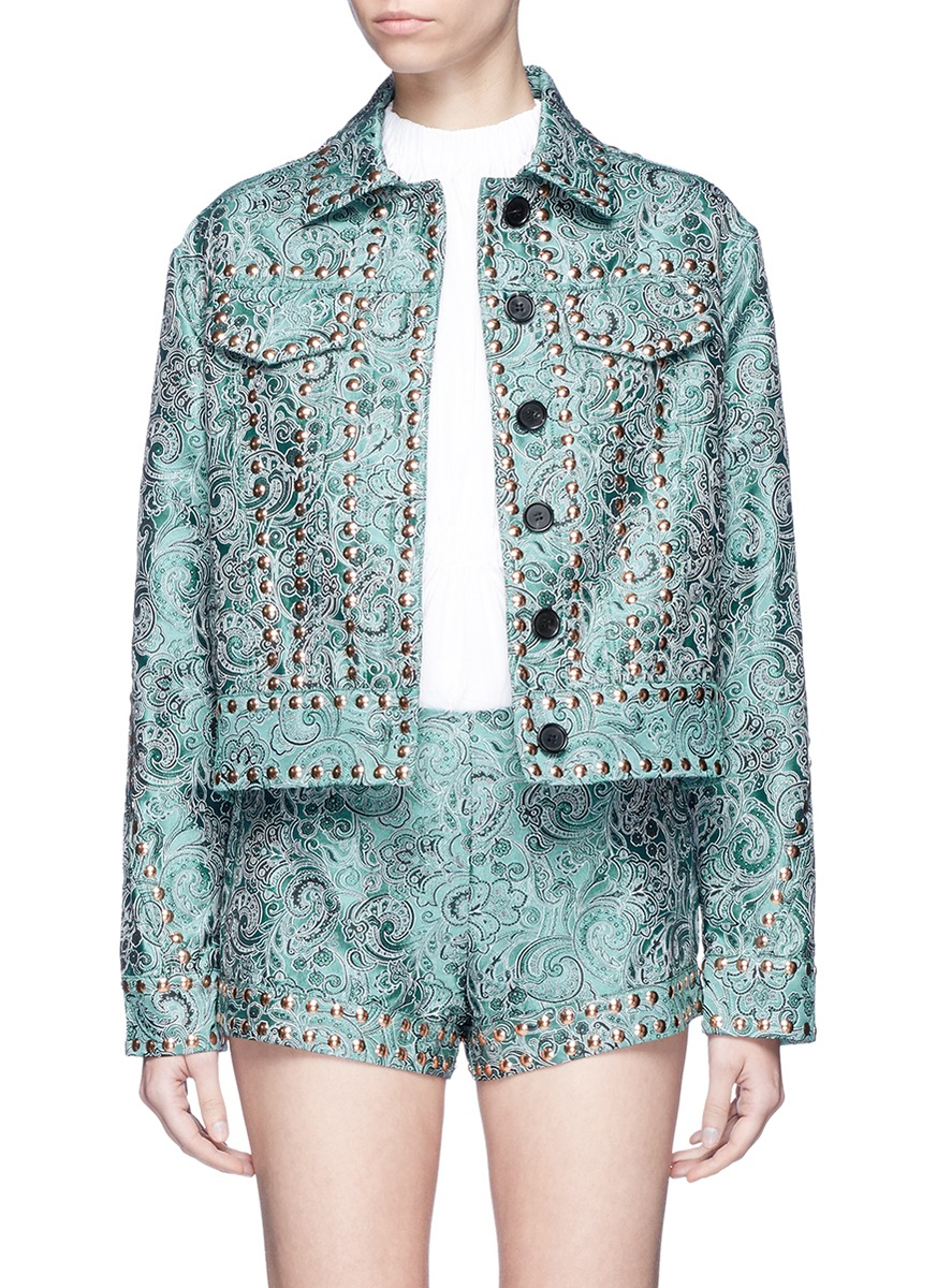 Emerald China stud paisley jacquard trucker jacket by Jourden