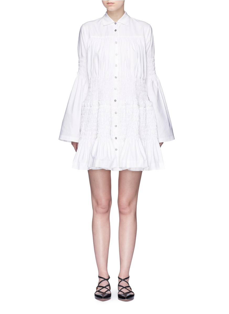 Smocked panel Oxford shirt dress by Jourden