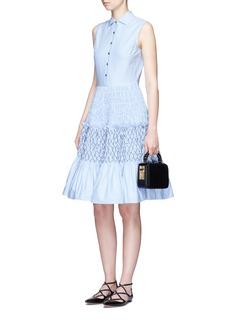 JourdenSmocked tiered Oxford sleeveless shirt dress