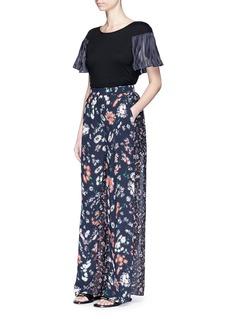 Rhié'Logan' floral print sheer back wide leg pants