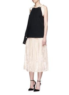 RhiéLambskin leather waistband pleated charmeuse skirt