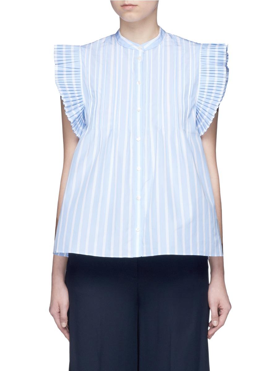 Italo pleated butterfly sleeve stripe shirt by Rhié