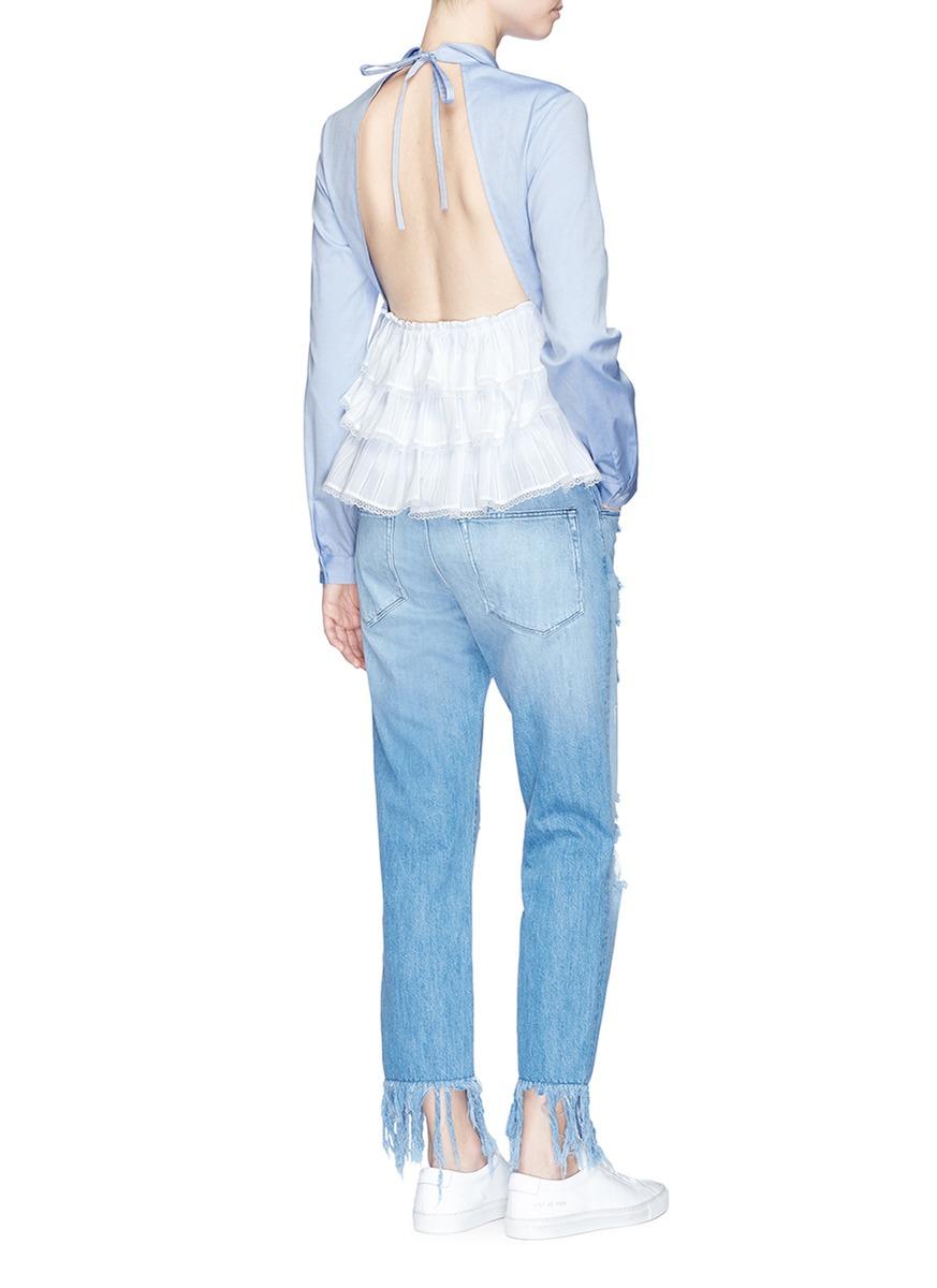 SANDY LIANG 'Fawn' Tiered Ruffle Open Back Shirt