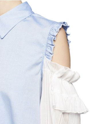 Detail View - Click To Enlarge - Sandy Liang - 'Flipper' tiered ruffle sleeve cold shoulder shirt