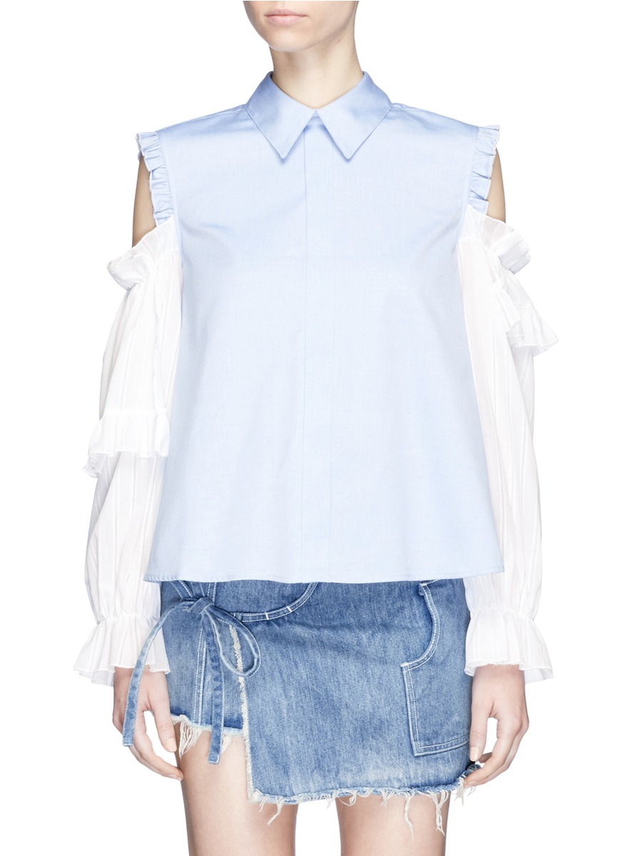 Flipper tiered ruffle sleeve cold shoulder shirt by Sandy Liang