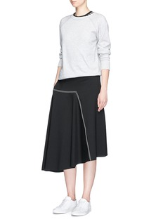 bassike Contrast topstitched bonded jersey asymmetric skirt