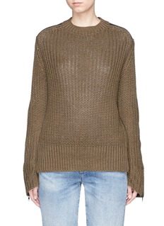 bassike Twill patch chunky rib knit military sweater