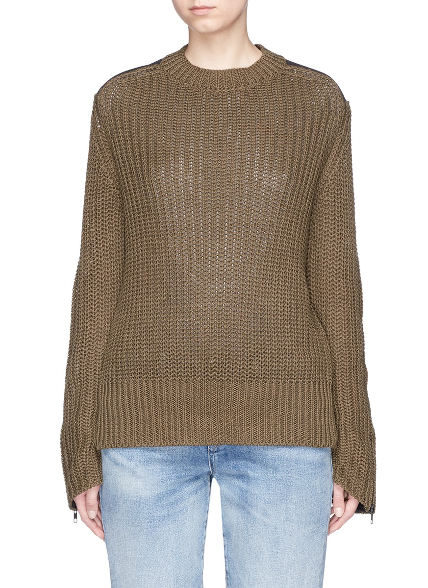 Twill patch chunky rib knit military sweater by bassike