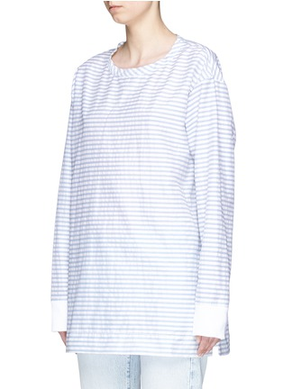 Front View - Click To Enlarge - bassike - Rib cuff stripe poplin top