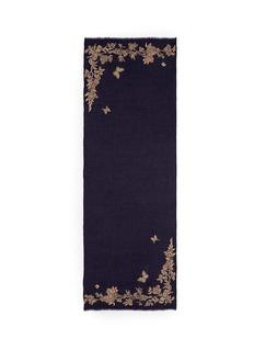 Janavi'Floret' beaded floral embroidery cashmere scarf