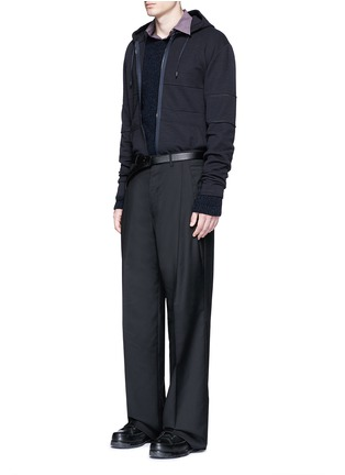Figure View - Click To Enlarge - Lanvin - Technical jersey zip hoodie