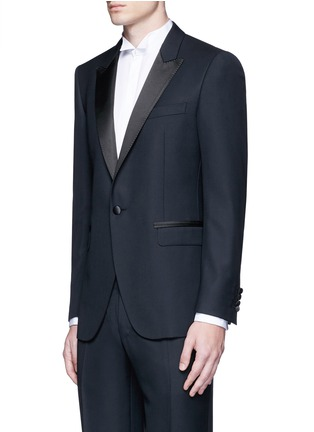 Front View - Click To Enlarge - Lanvin - 'Attitude' satin trim wool tuxedo suit