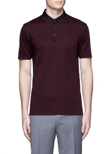 Lanvin Slim fit grosgrain collar polo shirt