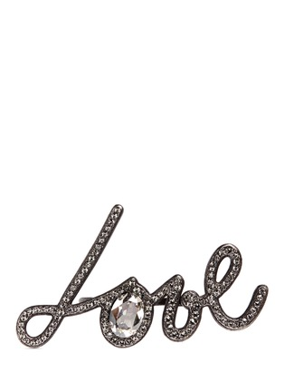 Main View - Click To Enlarge - Lanvin - 'Love' glass crystal two finger ring