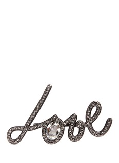 Lanvin 'Love' glass crystal two finger ring