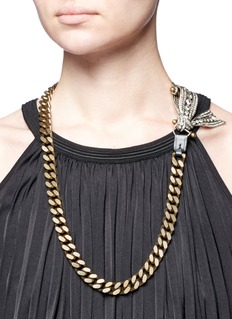 Lanvin 'Diane' crystal half bow curb chain necklace