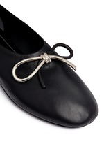 Metal bow nappa leather ballerina flats
