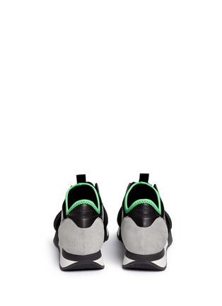 Back View - Click To Enlarge - Balenciaga - 'Race Runners' leather combo neoprene sneakers
