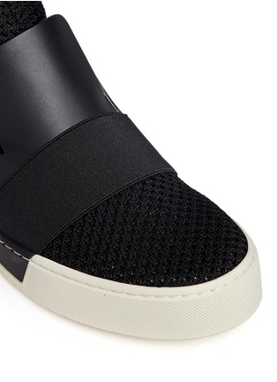 Detail View - Click To Enlarge - Balenciaga - Leather mesh combo high top skate slip-ons