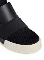 Leather mesh combo high top skate slip-ons