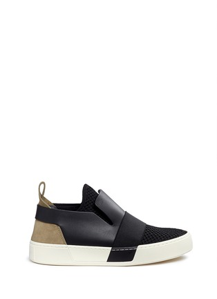 Main View - Click To Enlarge - Balenciaga - Leather mesh combo high top skate slip-ons