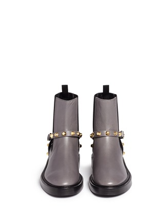 Front View - Click To Enlarge - Balenciaga - 'Classic' stud harness leather Chelsea boots