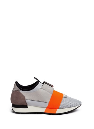 Main View - Click To Enlarge - Balenciaga - 'Race Runners' leather combo neoprene sneakers