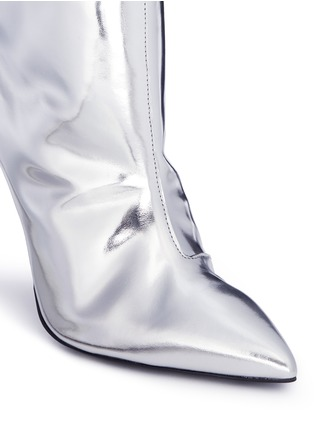 Detail View - Click To Enlarge - Balenciaga - Mirror leather knee high point toe boots