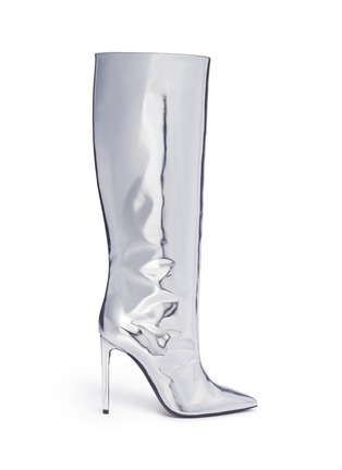Main View - Click To Enlarge - Balenciaga - Mirror leather knee high point toe boots