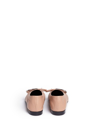Back View - Click To Enlarge - Balenciaga - Metal bow nappa leather ballerina flats