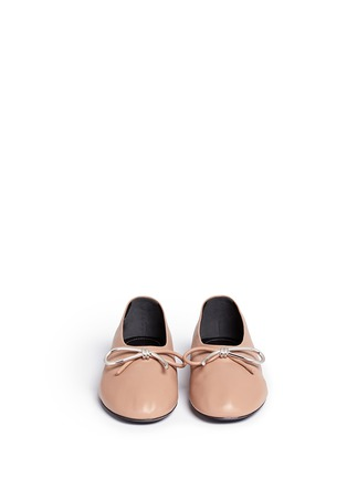 Front View - Click To Enlarge - Balenciaga - Metal bow nappa leather ballerina flats