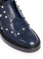 Stud leather laceless brogues
