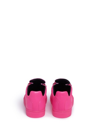 Back View - Click To Enlarge - Balenciaga - 'Arena' creased neon lambskin leather sneakers