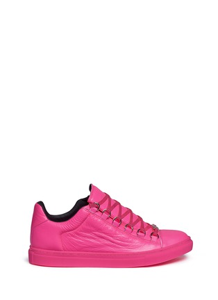 Main View - Click To Enlarge - Balenciaga - 'Arena' creased neon lambskin leather sneakers