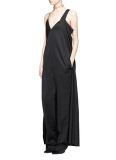 Esteban Cortazar Draped cape wrap wool jumpsuit