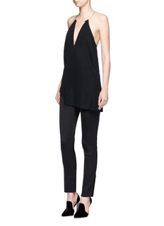 Esteban Cortazar Zip cuff tuck pleat side slim leg pants