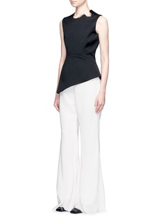 Esteban Cortazar Metal neckpiece asymmetric peplum sleeveless top