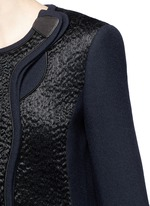 'Evanton' curly fur panel wool blend frock coat