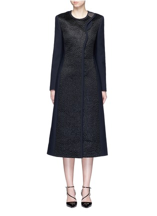Main View - Click To Enlarge - Roksanda - 'Evanton' curly fur panel wool blend frock coat