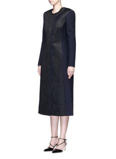 ROKSANDA'Evanton' curly fur panel wool blend frock coat