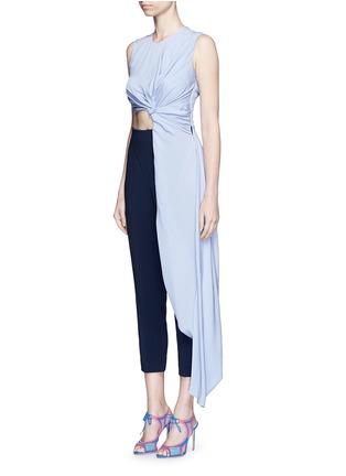 Front View - Click To Enlarge - Roksanda - 'Thurloe' cutout twist front colourblock jumpsuit
