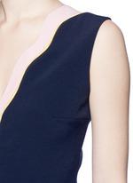 'Carla' scalloped V-neck sleeveless peplum top
