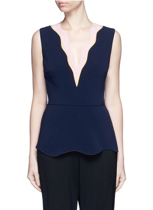 Main View - Click To Enlarge - Roksanda - 'Carla' scalloped V-neck sleeveless peplum top