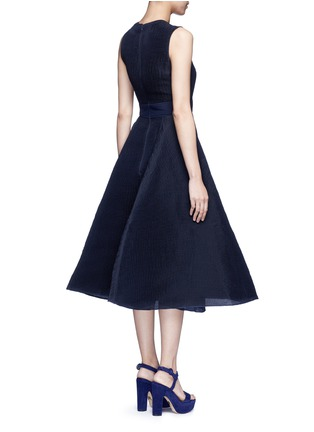 Back View - Click To Enlarge - Roksanda - 'Eryn' inset crepe flared plissé dress