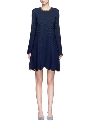 Main View - Click To Enlarge - Roksanda - 'Gail' wavy piped knit dress