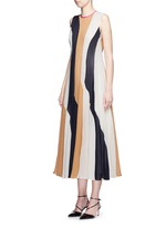 'Rebecca' colourblock silk seersucker midi dress