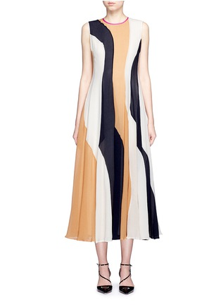Main View - Click To Enlarge - Roksanda - 'Rebecca' colourblock silk seersucker midi dress
